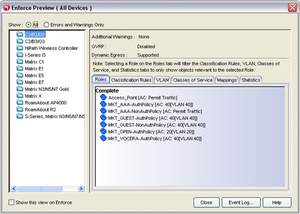 A screen capture from Enterasys NMS Policy Manager highlights one-click policy distribution for wired/wireless networks.