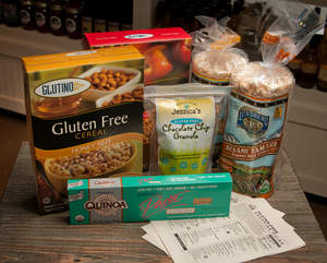 Sampling of gluten-free products and shopping guides available at Westborn Market