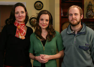 Kimberly Williams-Paisley (Center) with NPT producers Mary Makley (left) and Will Pedigo on the set during the taping of introductions for NPT's new documentary series NPT REPORTS: CHILDREN'S HEALTH CRISIS. (Credit: Joe Pagetta/NPT)