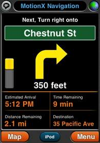 MotionX(TM)-GPS Drive, door-to-door navigation for the iPhone.