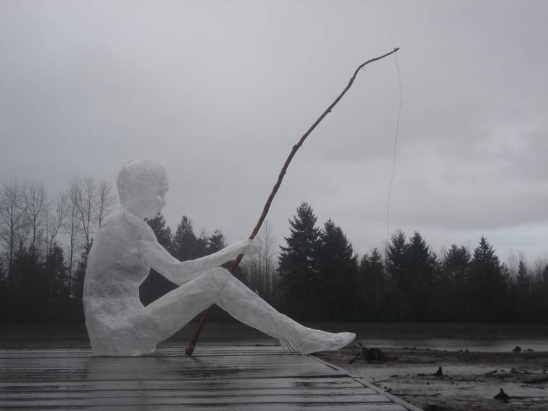 Simply creative amazing scotch tape sculpture for Eastchester fish market