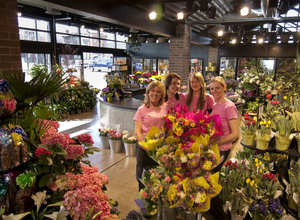 Feeling right at home in the spacious, new flower department of Westborn Market¿s Dearborn store are team members, from left to right, Kelly Ladouceur, Heather Herzfeld, Halley Bryan, and Erin Childs, flower department manager.