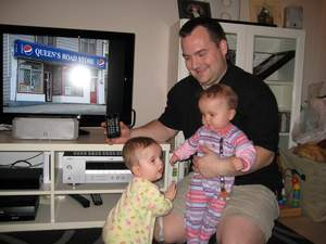 Kris Loewen and family enjoying their new Panasonic VIERA TV and ThinkFlood RedEye remote