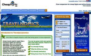 Screenshot of Cheapflights.ca'sTravel(eco)nomics Report - a guide to green airline travel.