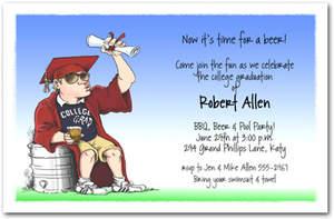 College Grad Beer Keg Graduation Invitation