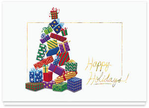 Holiday card design #163CW, Tree of Plenty, by John T. Lewis