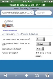 MoveIdiot Free Packing Supplies Calculator, Optimized for Mobile Phones.