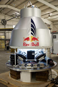 Red Bull Stratos capsule integration underway at Sage Cheshire in Lancaster, Calif.