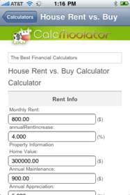 Calcmoolator iPhone App: Image showcases the Calcmoolator House Lease vs. Buy Calculator.