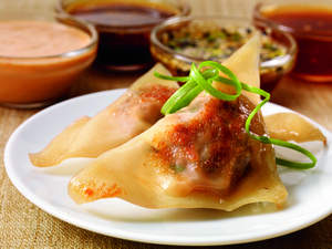 Chinese Beef Pot Stickers with Maple-Wasabi Dipping Sauce
