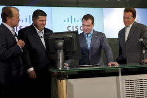 John T. Chambers, chairman and chief executive officer, Cisco; Jim Grubb, Chief Demonstration Officer, Cisco; President of the Russian Federation Dmitry Medvedev; California Governor Arnold Schwarzenegger