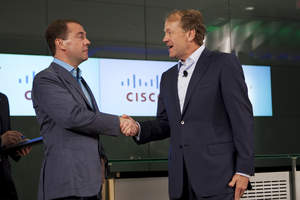 John T. Chambers, chairman and chief executive officer, Cisco; President of the Russian Federation Dmitry Medvedev