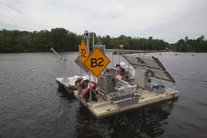 Beacon Institute's B2 advanced monitoring platform deployed in the Hudson River near Fort Edward
