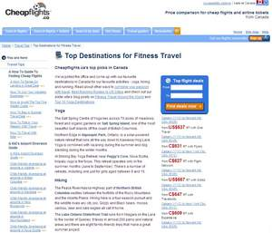 Screenshot of Cheapflights.ca's Top Picks for Fitness Travel in Canada. For those looking to weave fitness and health into their travels, the editors at Cheapflights.ca have come up with this guide which showcases some of our team's favourite destinations for yoga, hiking and running across Canada and around the world.