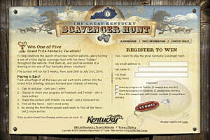The Great Kentucky Scavenger Hunt website provides vacation package details and entry options.