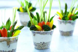 "Vegetable Garden ""Dirt"" Cups with Ranch Dip"