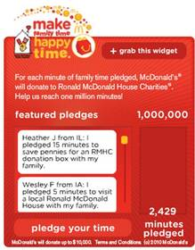 For each minute pledged, McDonald's will donate to Ronald McDonald House Charities, McDonald's Charity of Choice.
