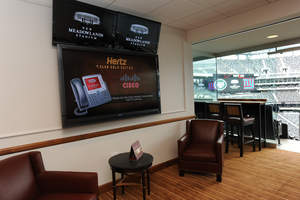 EAST RUTHERFORD, NJ - AUGUST 23: During sporting events Cisco StadiumVision technology will present live game footage, team trivia, news and weather information at New Meadowlands Stadium on August 23, 2010 in East Rutherford, New Jersey.