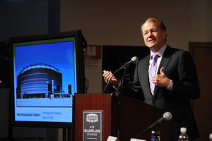 EAST RUTHERFORD, NJ - AUGUST 23: John T. Chambers, Cisco Chairman and CEO, discusses new Cisco StadiumVision technology deployed at New Meadowlands Stadium on August 23, 2010 in East Rutherford, New Jersey.