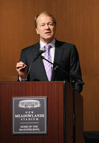 EAST RUTHERFORD, NJ - AUGUST 23: John T. Chambers, Cisco Chairman and CEO, speaks during a press conference at New Meadowlands Stadium on August 23, 2010 in East Rutherford, New Jersey. The press conference was held to introduce new technologies that enable stadium transformation to uniquely host New York Jets and New York Giants games in addition to other entertainment events in the venue.