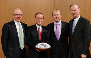 EAST RUTHERFORD, NJ - AUGUST 23: New York Jets Owner Woody Johnson, Verizon Chairman and CEO Ivan Seidenberg, Chairman and CEO of Cisco John T. Chambers and Owner of the New York Giants John Mara pose for a photograph at a technology press conference at New Meadowlands Stadium on August 23, 2010 in East Rutherford, New Jersey.
