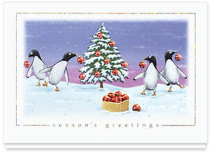 The gallery collection redesigns business christmas cards website penguin party holiday card design 166cs from the gallery collection reheart Images
