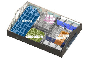 Indoor Trampoline Park - Sky view of trampoline structures and interior