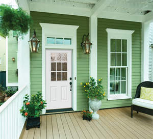 JELD-WEN's new FiberLast fiberglass exterior doors contain a minimum of 35 percent pre-consumer recycled wood and meet ENERGY STAR(R) requirements for a tax credit.