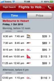 Webjet flight search iPhone app