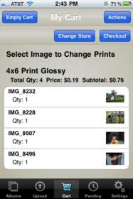 Choose Sizes and Quantities Within the LifePics for iPhone App