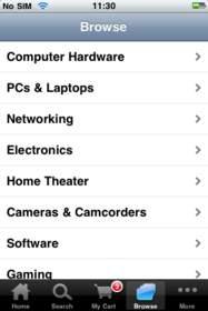 iPhone Newegg Mobile Search Screen Shot