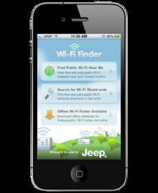 Jeep provides exclusive in-app advertising throughout JiWire's Wi-Fi Finder