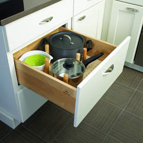 Peg dividers for drawers can be customized so you can fit your pots and pans however you like.