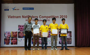 Winners of NetRiders Skills competition for Vietnam in 2010 - Nguyen Thai Nguyen, Ha Duc Cuong and Trinh Tung Anh from Bachkhoa Networking Academy at the Hanoi University of Technology Hanoi University of Technology.