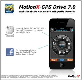 MotionX-GPS¿ Drive V 7: Turn-by-Turn Navigation with Support for Facebook Places and Wikipedia GeoInfo