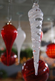 Hand-crafted icicle ornament for sale at the Glass Academy