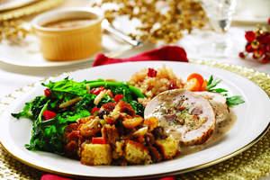 Turkey Roulade with Porcini Mushroom Gravy & Cornbread and Dried Fruit Dressing