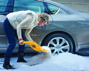 The compact AutoBoss snow shovel from True Temper is ideal for digging out snow if your vehicle gets stuck.