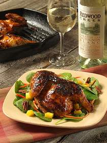 Wine-Tamarind Glazed Cornish Hens with Tropical Salad with Redwood Creek Sauvignon Blanc