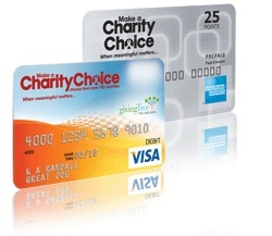 Charity Visa debit gift cards and Charity AMEX gift cards to spend on  donations and merchandise.