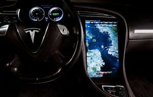 The Tegra-powered infotainment system from the Model S features a 17-inch touch-screen center console -- the largest display ever in a car -- providing vivid 3D graphics.
