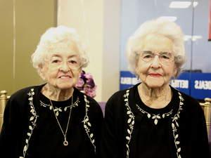 credit union, twins, 100, birthday, celebration, community, milestone, centenarians
