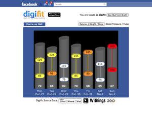 Digifit, Withings blood pressure, screenshot, fitness app, health tracking