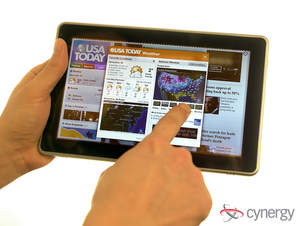 The USA TODAY application, developed by Cynergy,  running on an HP Slate.