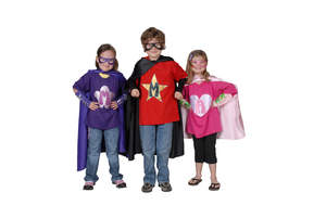 Children in superhero capes and accessories from PowerCapes.com