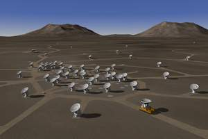 Artist conception of the ALMA array with roads, in the extended configuration.