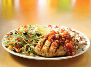 Chipotle Lime Chicken (Weight Watchers PointsPlus value: 13): Grilled chicken breast topped with spicy chipotle lime salsa, served with Southwest rice, black bean and corn slaw and cilantro- tossed Applebee's citrus vinaigrette.