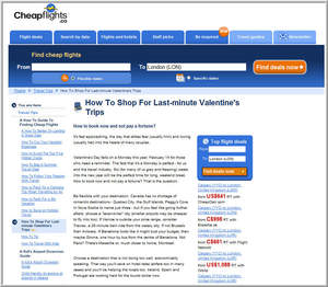Cheapflights.ca's guide on How To Shop for Last Minute Valentine's Trips