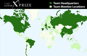Map indicating countries where Google Lunar X PRIZE teams are headquartered or teams participants
