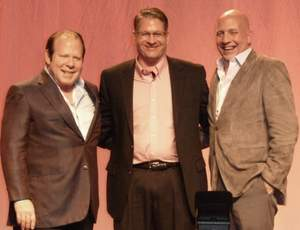Brian K. Bagan (center), Kodak Director of Business Development, congratulates MMRGlobal (MMRF) Chairman & CEO Robert H. Lorsch (left) and Executive Vice President Richard M. Lagani (right) on winning two awards at Kodak Americas Document Imaging Channel All Star Awards during high level sales meetings in Orlando, FL on February 13, 2011.